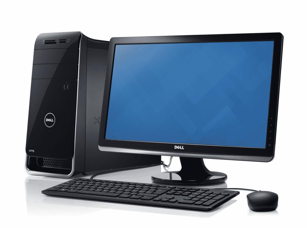 Компьютер на белом фоне dell