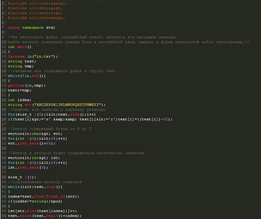гистограмма частотности с++ решение задачи введенных символов
